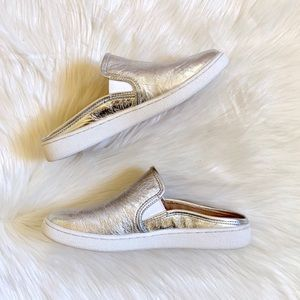 UGG Shoes - UGG Luci Metallic Silver Leather Sneaker Mules